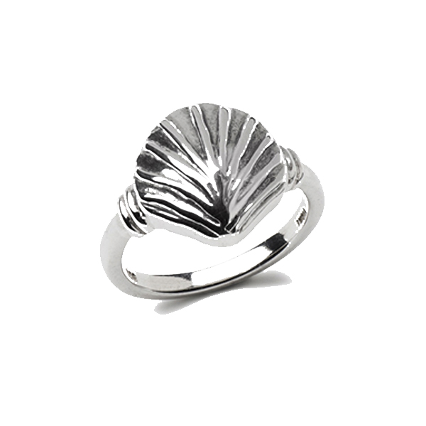 VG444   KLAMA SHELL RING        Oxidized, High Polish Finish