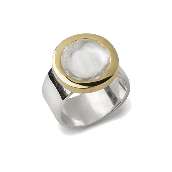 AB204   PORTHOLE RING    Crystal Quartz;18K Gold Plate over Sterling Silver; High Polish Finish