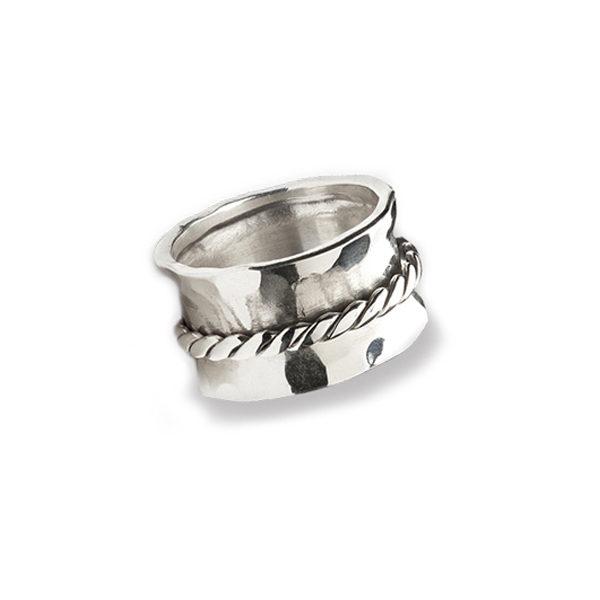 EC099   BRAIDED SPINNER RING      Oxidized, Hammered, High Polish Finish