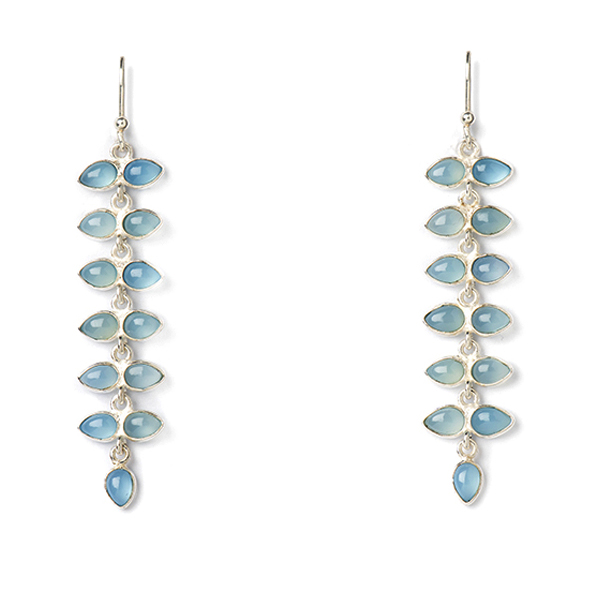 JT001-BC   PALMERA EARRINGS      Blue Chalcedony; High Polish Finish