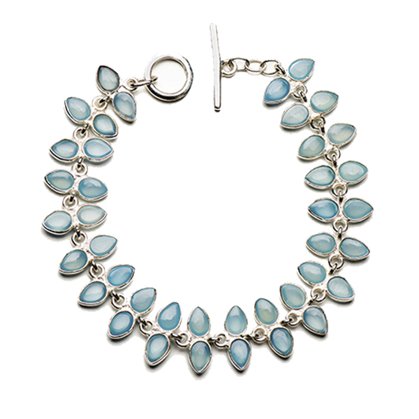 JT003SS-BC   PALMERA BRACELET       Blue Chalcedony; High Polish Finish