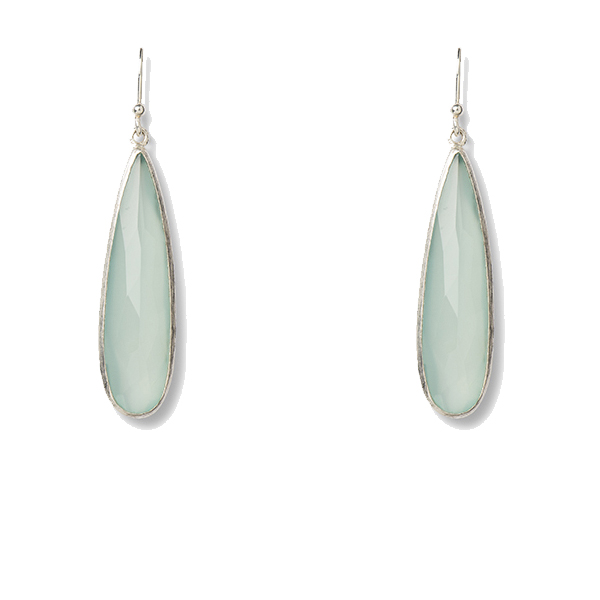 VG246   ALARGADA EARRINGS     Available in Aqua Chalcedony (pictured) or Pink Chalcedony; Kaotica Finish
