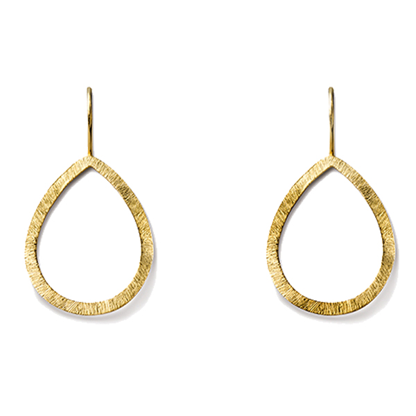 AB246   OPEN TEARDROP EARRINGS     Available in 18K Gold Plate over Sterling Silver (pictured), or Sterling Silver; Kaotica Finish
