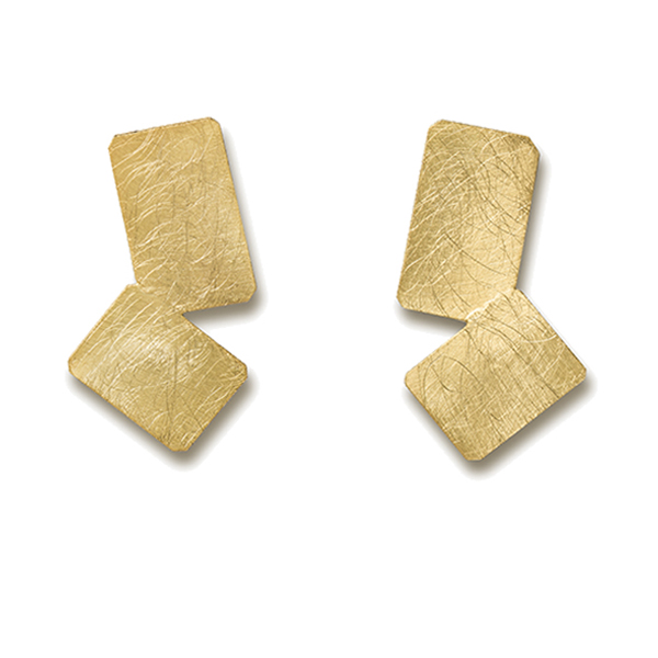 KO350   MONDRIANA EARRINGS   Available in 18K Gold Plate over Sterling Silver (pictured), or Sterling Silver; Kaotica Finish