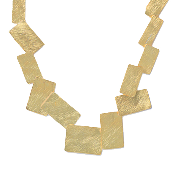 KO355   MONDRIANA NECKLACE   Available in 18K Gold Plate over Sterling Silver (pictured), or Sterling Silver; Kaotica Finish