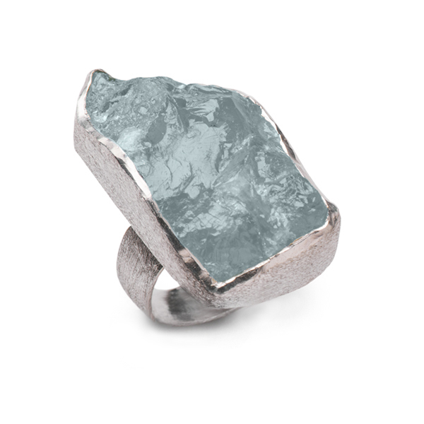 SJ029-AQ   BOULDER RING    Aquamarine; Kaotica Finish