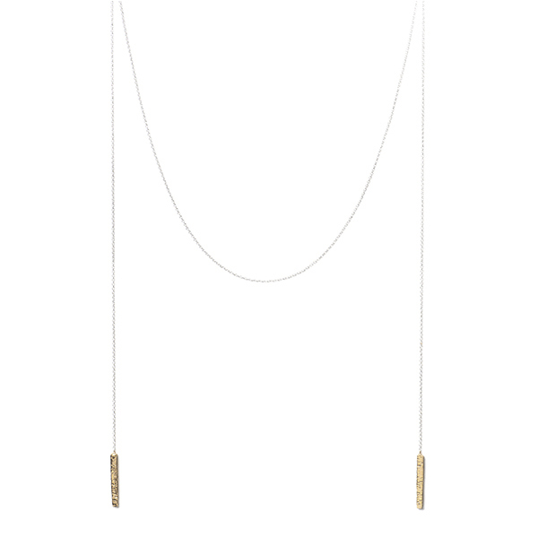 AB238   STATIONS LARIAT NECKLACE    18K Gold Plate over Sterling Silver; Hammered, High Polish Finish