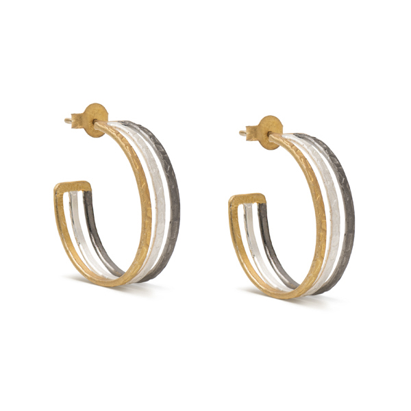 AB235   APHRODITE HOOPS    18K Gold Plate and Black Rhodium Plate over Sterling Silver; Textured, Satin Finish