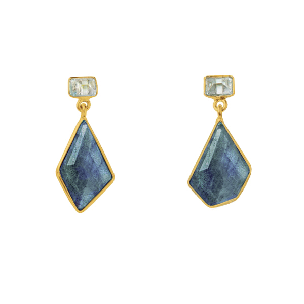 JT036GP-LB   MOSAIC EARRINGS    Blue Topaz, Labradorite; 18K Gold Plate over Sterling Silver; High Polish Finish