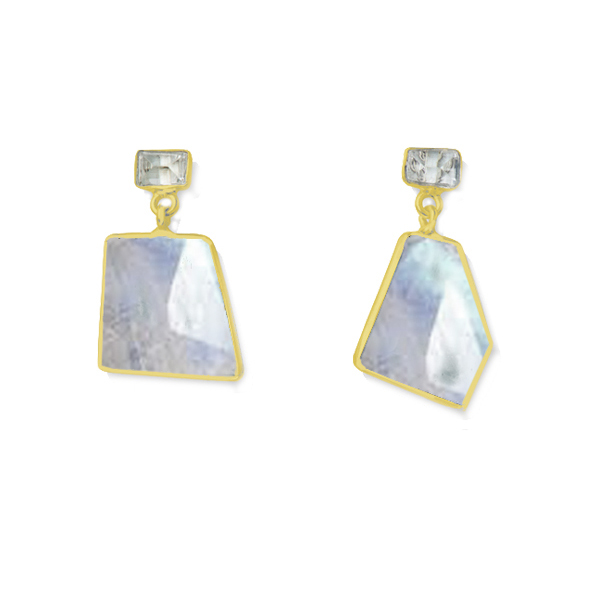 JT036GP-RM   MOSAIC EARRINGS Blue Topaz, Rainbow Moonstone; 18K Gold Plate over Sterling Silver; High Polish Finish