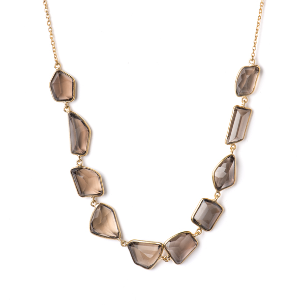 JT040GP-SM   CHUNKY MOSAIC NECKLACE    Smoky Topaz; 18K Gold Plate over Sterling Silver; High Polish Finish