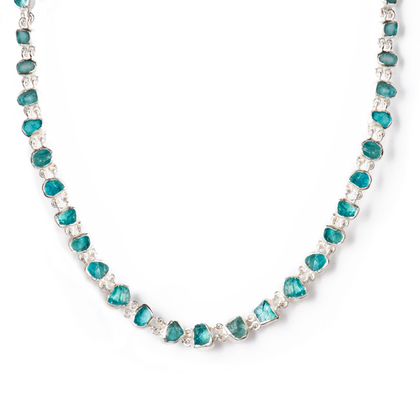 SJ153-AP SKIPPING STONES NECKLACE       Apatite; Kaotica Finish