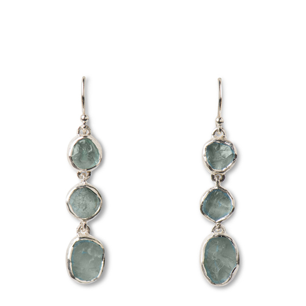 SJ154-AQ   TRI-POOL EARRINGS        Available in Aquamarine (pictured), Apatite ($39), Rose Quartz ($39); Kaotica Finish