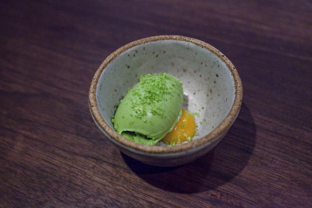 pistachio sorbet with apricot jam