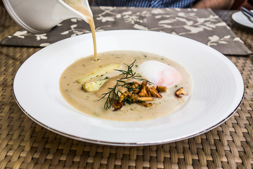 Kulajda soup in Prague - traditional Czech food
