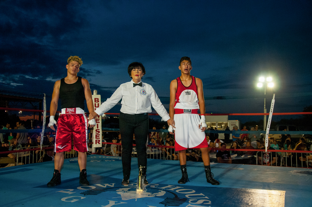 16-year-old William Sepulveda, left, is declared the winner in his bout against 16-year-old Angel Arroyo at Beverly Hills Hall on Saturday night.