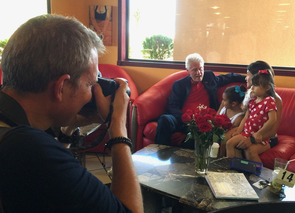 Yours truly photographing Bill Clinton for the USA TODAY Network, Las Cruces, NM, 2016.