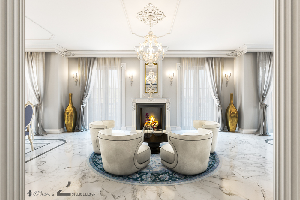BAROQUE INTERIOR DESIGN WITH FIREPLACE