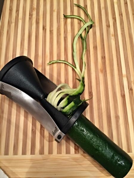 My spiral slicer hard at work slicing my zucchini.