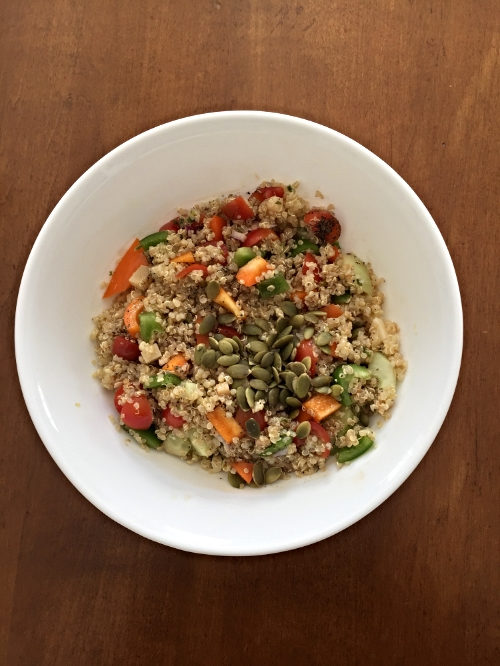 A healthy, nutritious, beautiful rainbow quinoa salad.