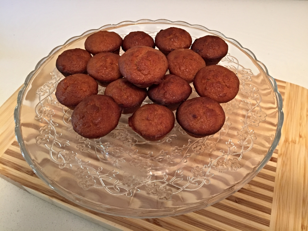 Delicious quinoa flour banana muffins on that pretty dessert stand I was talking about! :)