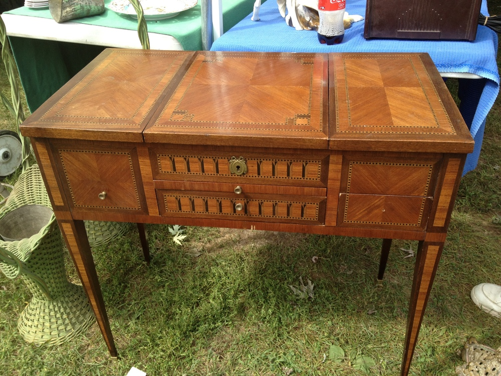 Once I found this inlaid wood vanity, I was set.