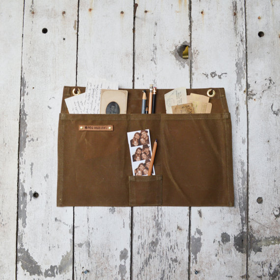 Peg & Awl waxed canvas wall pocket, $60