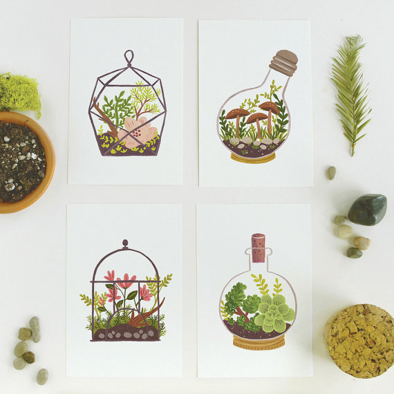 Quill and Fox terrarium postcards, $7