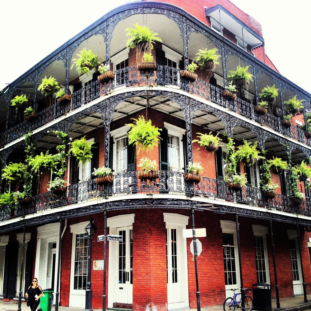 Hanging planters add color and character in the French Quarter.