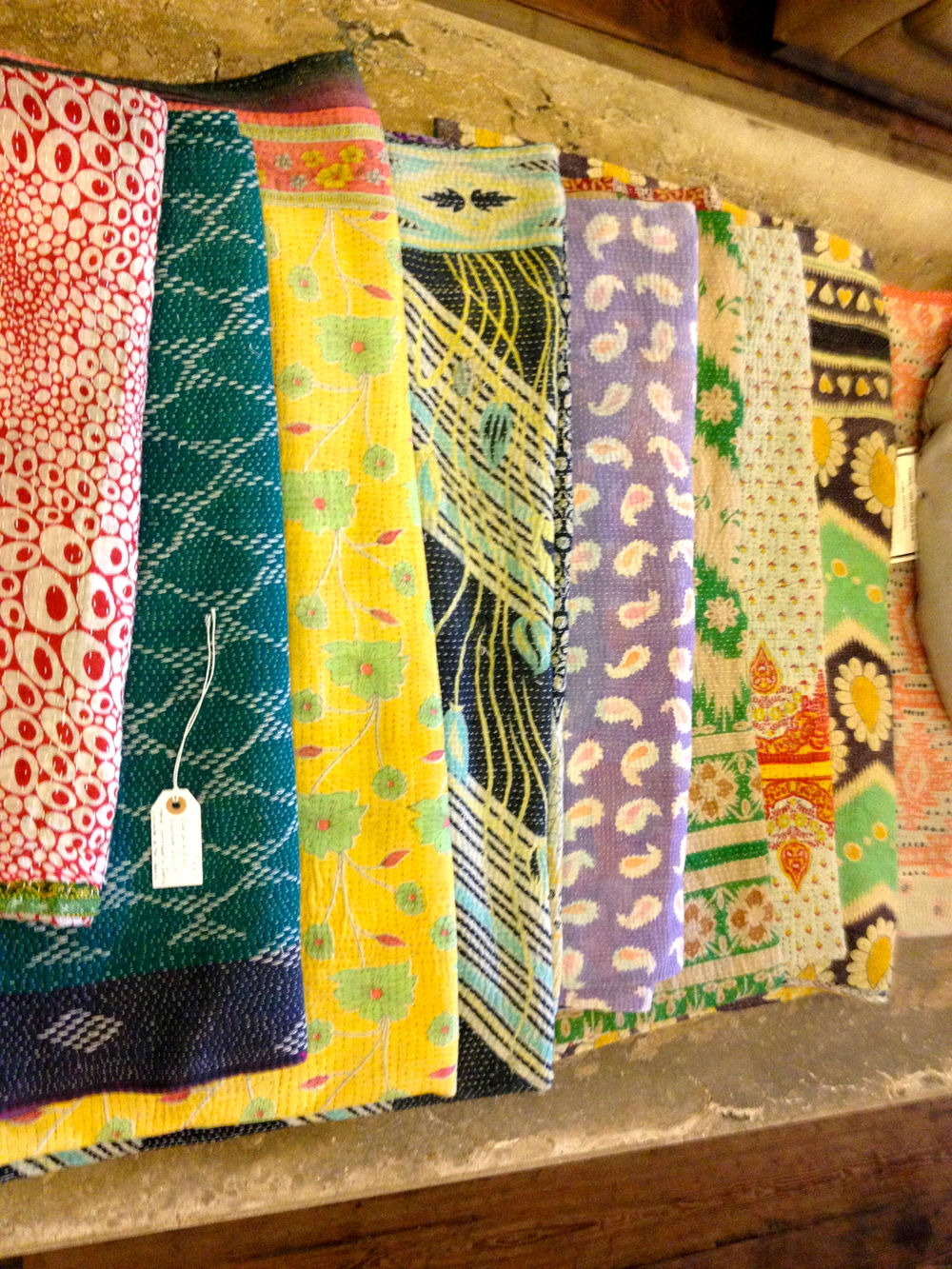 Colorful, one-of-a-kind kantha quilts at  Nadine Blake.