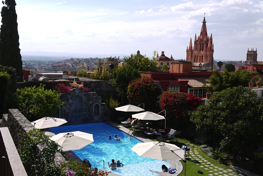 """This was the view from a roof deck over the pool at our  fantastic hotel  in San Miguel. It seriously felt like we'd stepped into a postcard. """