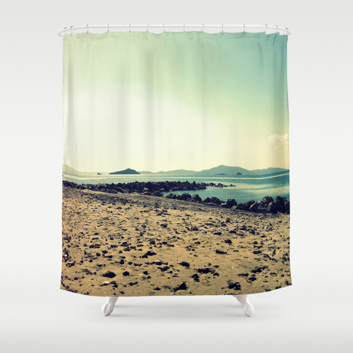 Sunset in Turgutreis  shower curtain  by Gzm_guvenc, $68