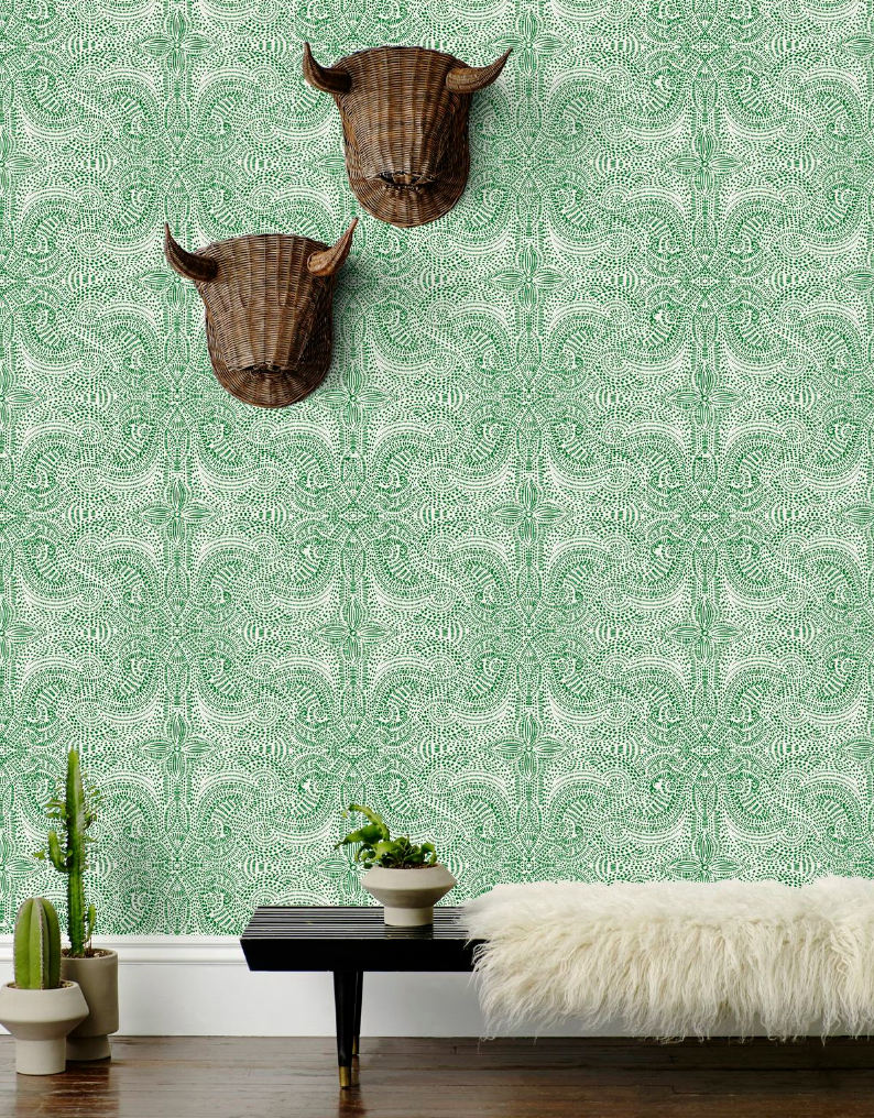 Andaza wallpaper by Hygge & West, inspired by a San Miguel de Allende hotel bar mural.
