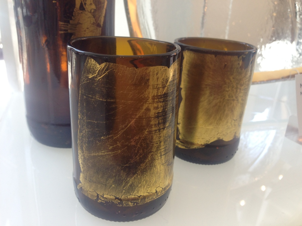 Nanda Soderberg  recycled beer and wine bottle tumblers from New Hampshire.