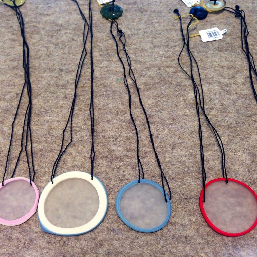 Erica Rosenfeld  glass necklaces made in New York.