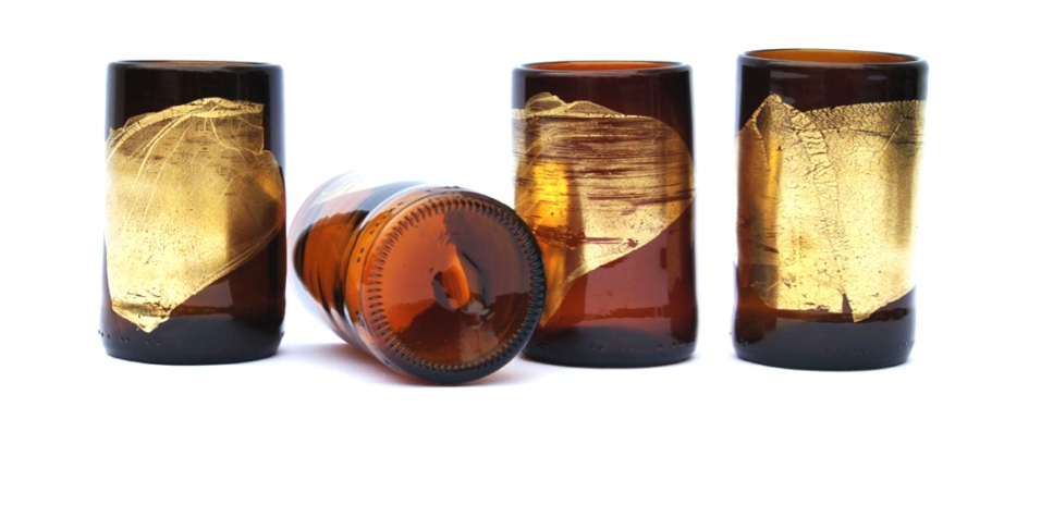 "Nanda Soderberg  gold leaf beer bottle tumblers , 3.5"" x 2.25"", $28 each"