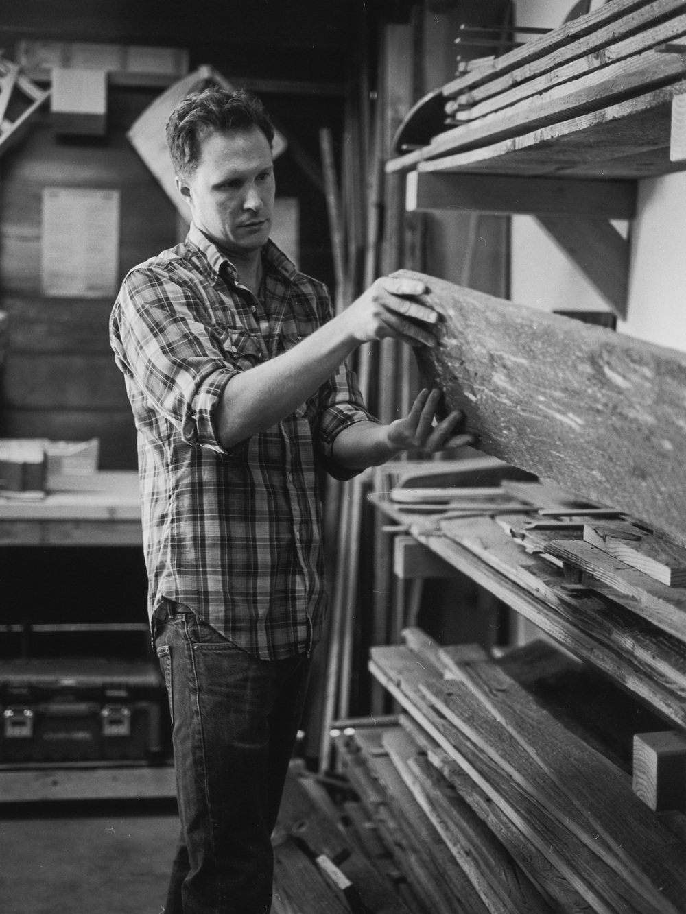Photo of Aaron in the workshop by Jack Strutz