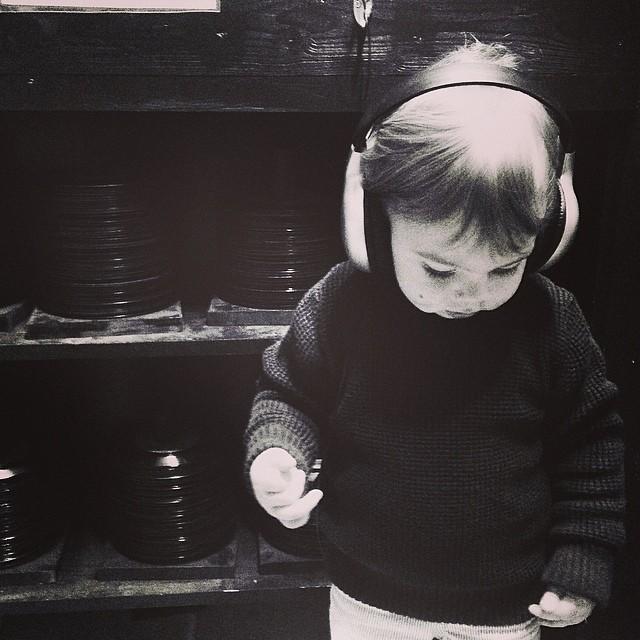 Erin's son Tom Otis sampling music at End of All Music