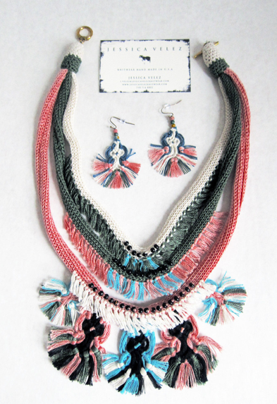 Jessica Velez  macrame necklace  $98 and  earrings  $38