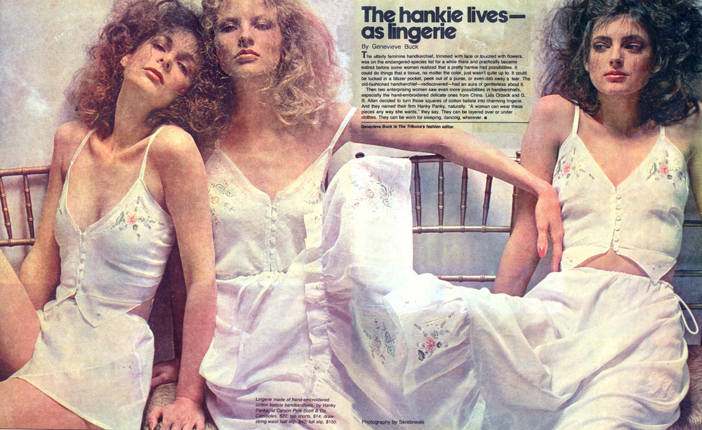 Hanky Panky's original hanky lingerie photographed by Skrebneski for The Chicago Tribune. April 9, 1978.