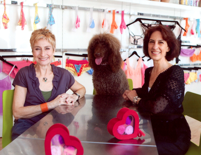 Lida, Henree (Lida's standard poodle) and Gale in the Park Avenue South showroom in Manhattan