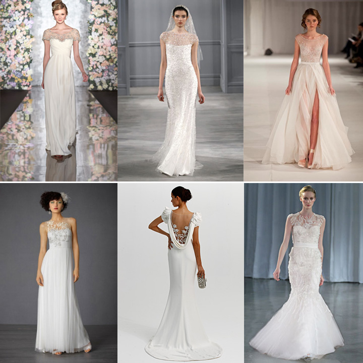 wedding dress trend: illusion necklines