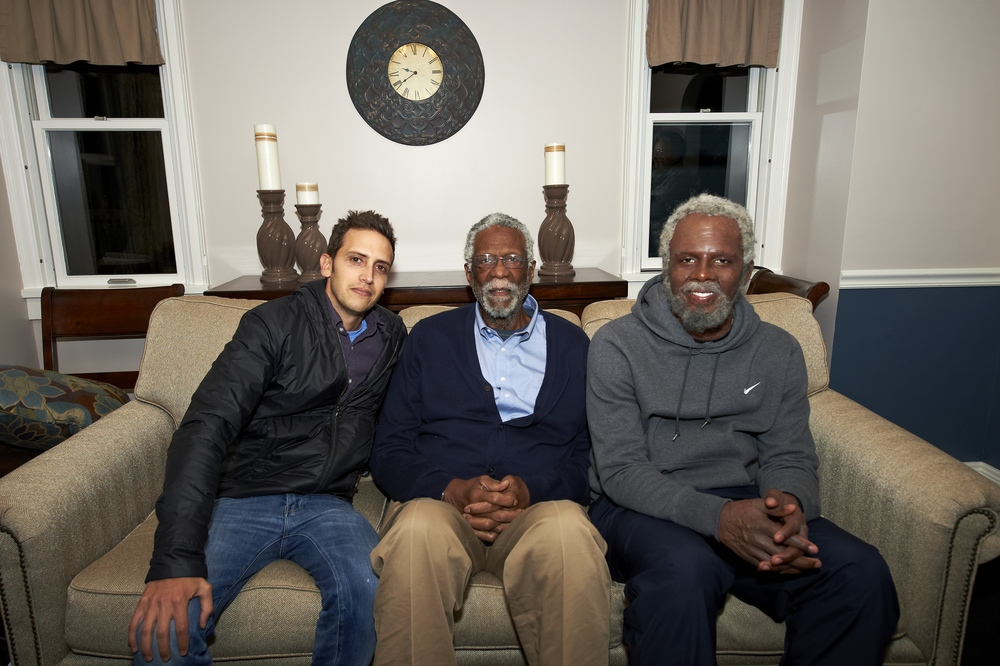 On the set with Bill Russell and Uncle Drew (Kyrie Irving).