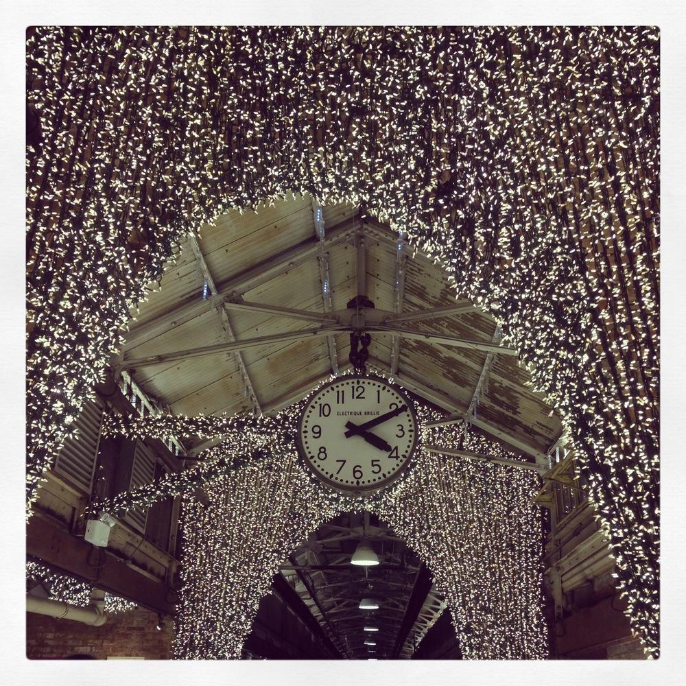 These gorgeous lights illuminated the Chelsea Market.