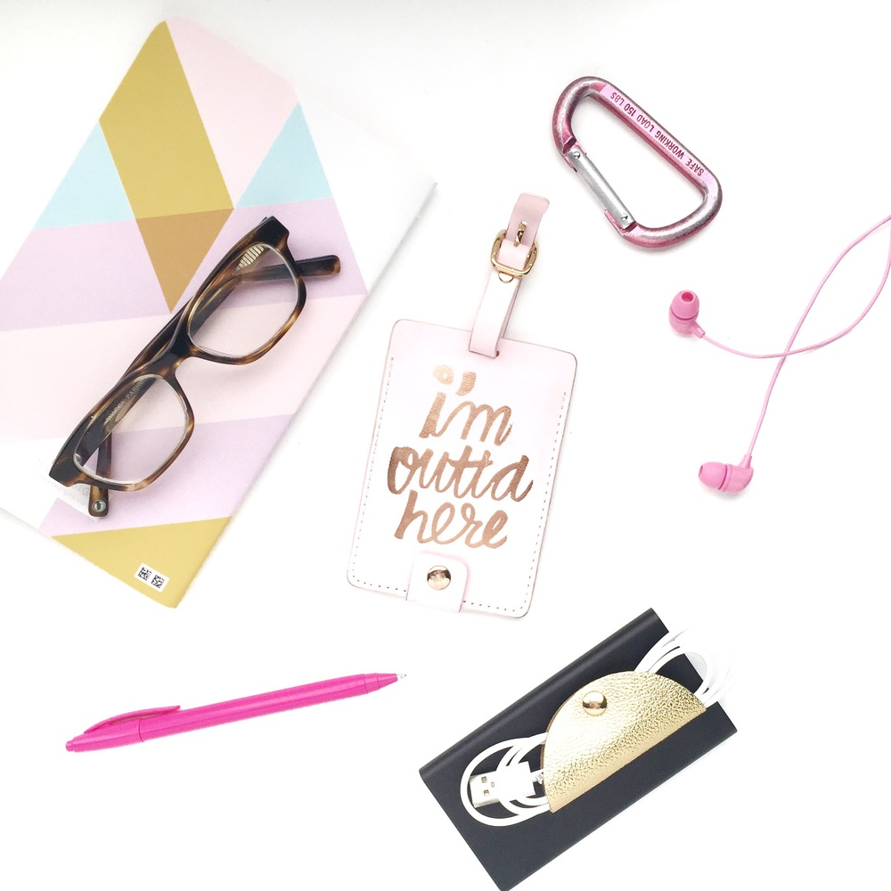 Notebook - May Designs // Glasses - Sims in striped sassafras by Warby Parker // Pen - Yoobi (@ Target) // Chord Taco - Target // Backup Battery - Amazon // Luggage Tag - Ban.do // Headphones - Happy Plugs // Carabiner - Dick's Sporting Goods (old) //