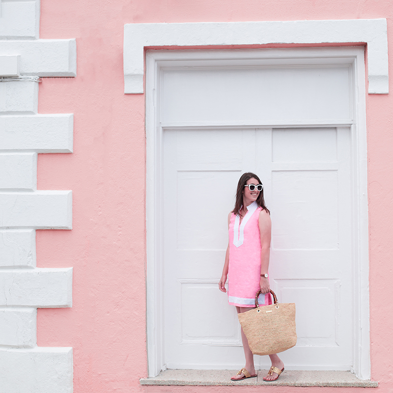 Dress & straw bag by Luxury Gifts Bermuda, Sunglasses by FH Bermuda, photo by Amy Tangerine