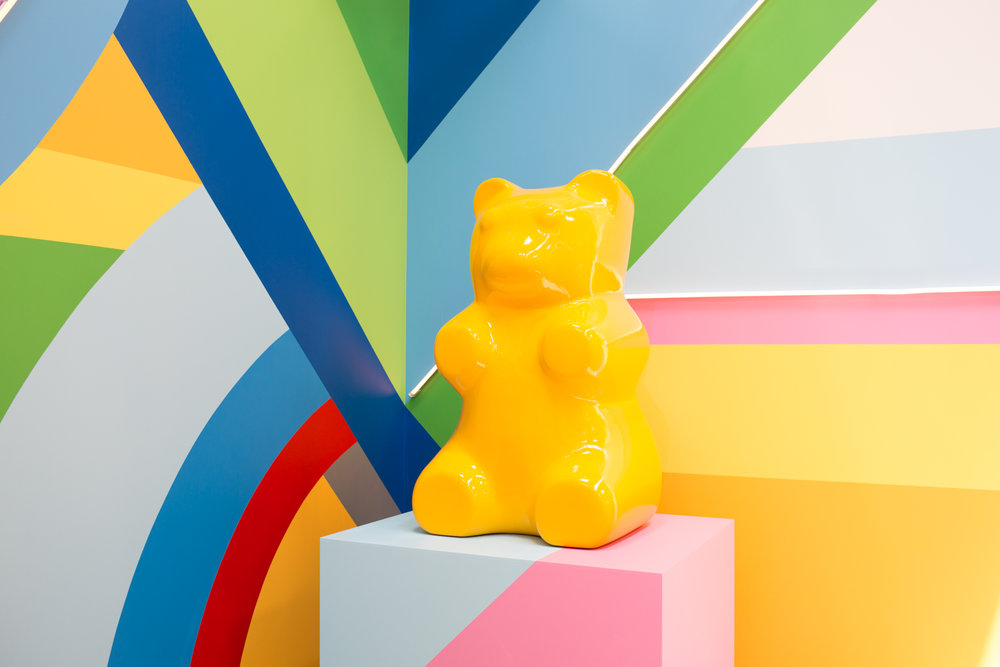 An entire room dedicated to gummy bears and technicolored striped walls.