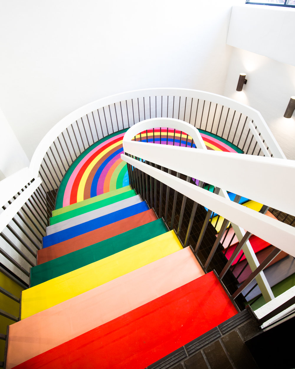 color factory rainbow stairs