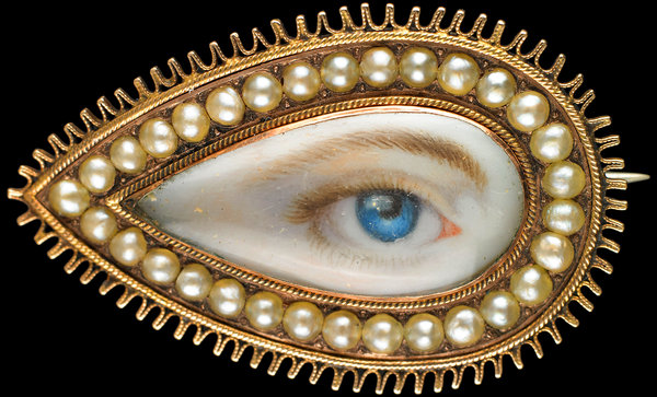 Georgian Gold and Pearl Lover's Eye Brooch from exhibition catalogue, The Look of Love: Eye Miniatures from the Skier Collection c/o The Birmingham Museum of Art.