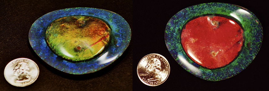 Possible the most famous of all know opals,  The Flame Queen  opal was found in 1914 at Lightning Ridge, New South Whales in Australia. 3 miners, Jack Philips, Walter Bradley and Joe Hegarty found it at 35 feet below the earth's surface. Bradley, a stone-cutter cut and polished the large, fried-egg-like opal, and the 3 sold it for the shockingly low price of £93! Here it is shown at 2 different angles to demonstrate the amount of color change exhibited when turned in light.